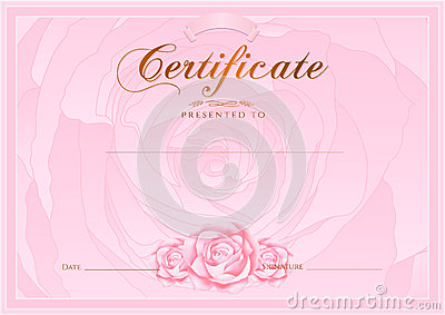 certificate diploma of completion rose design template