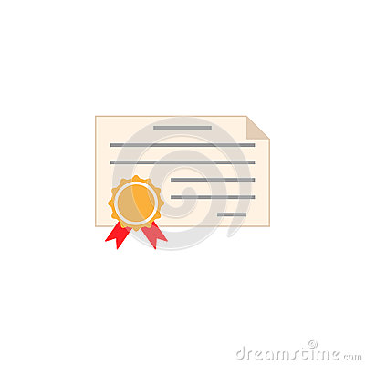 Certificate diploma flat icon, education school Vector Illustration