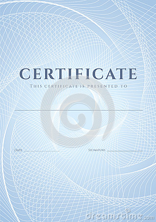 Free Certificate, Diploma Template. Guilloche Pattern Royalty Free Stock Image - 32906206