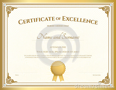 Certificate Of Excellence Template With Gold Border Vector Illustration