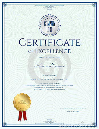 certificate of excellence template with gold seal cartoon vector