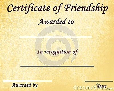 Certificate of friendship