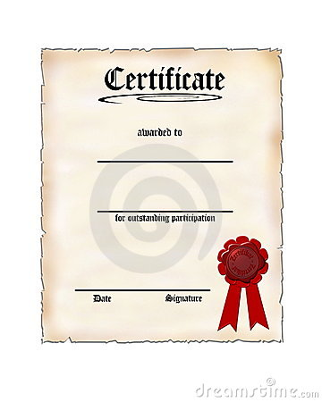 Certificate For Participation Stock Image - Image: 7915891