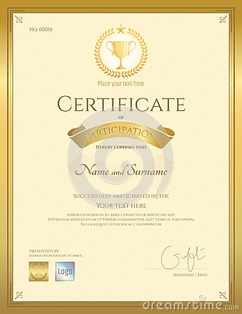 Certificate Of Participation Template In Gold Color Stock ...