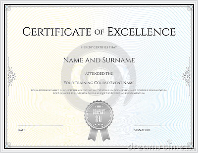 Sport Theme Certification Of Excellence Template Vector – Certificate of Excellence Template