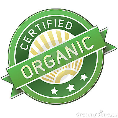 Certified organic product or food label