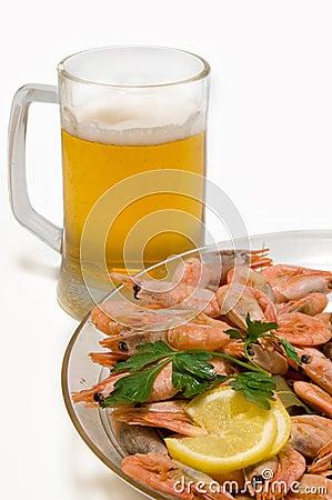 Cerveza con los camarones