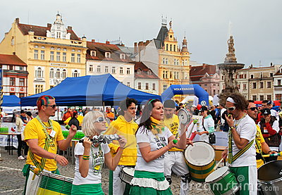 Ceske Budejovice, Czech Rep: Band in Old Town Sq. Editorial Stock Image