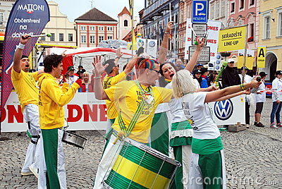 Ceske Budejovice, Czech Rep: Band in Old Town Sq. Editorial Image