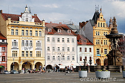 Ceske Budejovice, Czech Rep: Old Town Square Editorial Image