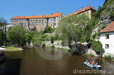 Cesky Krumlov Castle and rafting on Vltava river Editorial Photography
