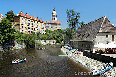 Cesky Krumlov Castle and rafting on Vltava river Editorial Stock Photo