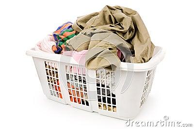 Cesta de lavadero y ropa sucia foto de archivo libre de - Cesta ropa sucia ...