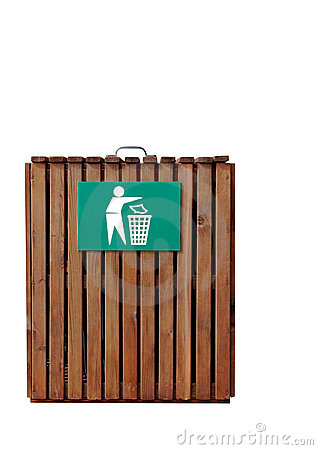 Cesta de lixo de madeira