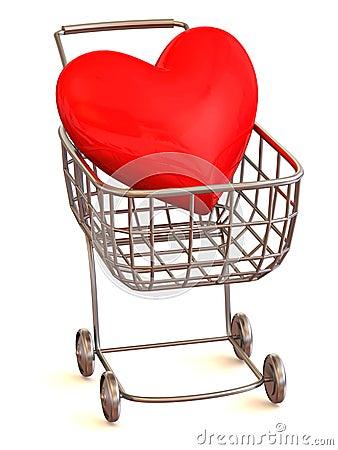 Cesta del consumidor con el corazón