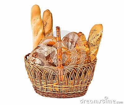 Cesta tecida com tipo diferente do pão