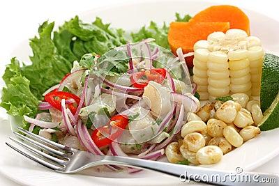 Ceviche, seafood dish, peruvian cuisine