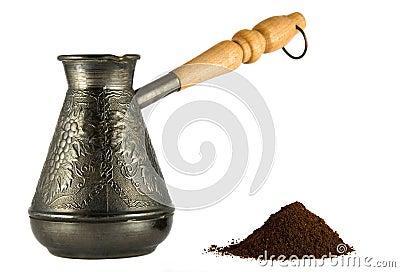 Cezve with coffee powder