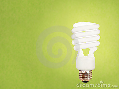 CFL bulb on green
