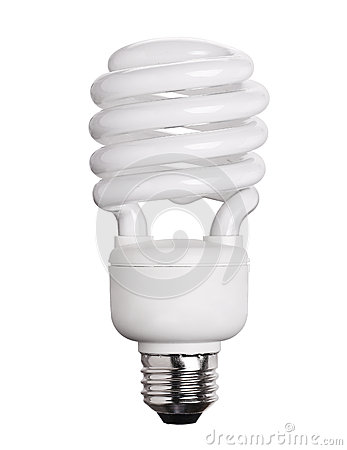 Free CFL Fluorescent Light Bulb Isolated On White Stock Image - 52645561