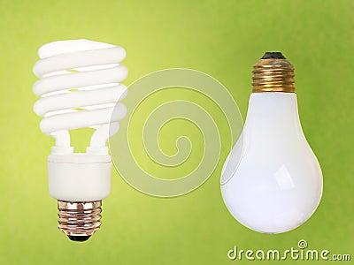 CFL and regular bulbs on green