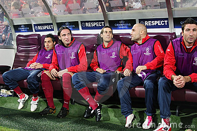 CFR Cluj reserve bench in Champions League Editorial Image