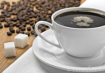 Chávena de café em um tablecloth