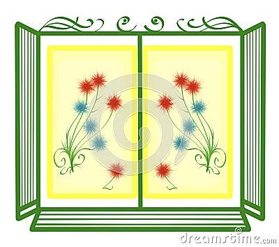 Ch ssis de fen tre avec des fleurs illustration stock for Chassis de fenetre