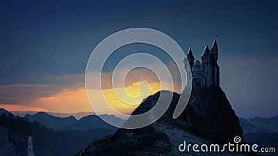 Château de livre de contes au lever de soleil