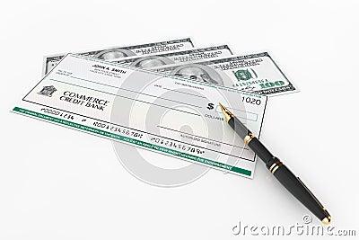 ch que de banque et stylo plume vides avec des billets d 39 un dollar illustration stock image. Black Bedroom Furniture Sets. Home Design Ideas