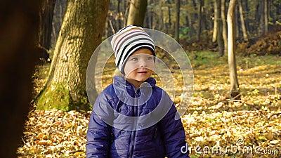 Chłopiec W szoku - dzieciak wyrażeniowa emocja być w szoku lub zaskakuję zdjęcie wideo