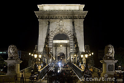 Chain bridge in Budapest, front view