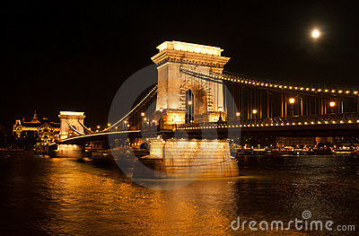 The Chain Bridge in Budapest with full moon
