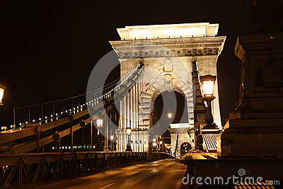Chain Bridge of Budapest by night
