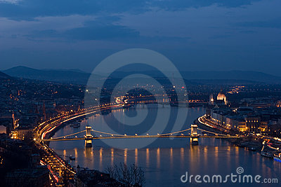 Chain Bridge in floodlight in Budapest, Hungary.