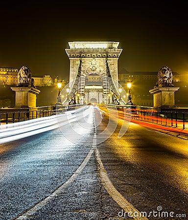 Chain bridge at night, Budapest, Hungary Editorial Photo