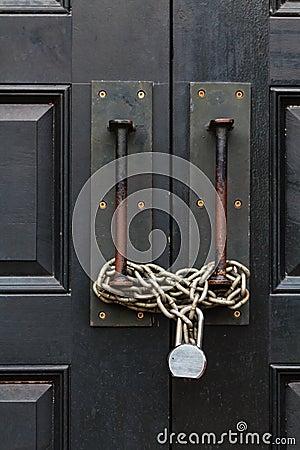 Chain closed door