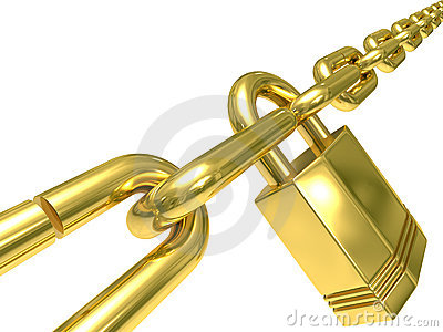 Chain closed by lock on  white background