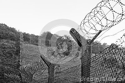 Chain-link fencing and Barbed wire