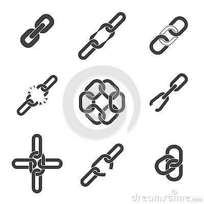 Chain or link icons set Vector Illustration