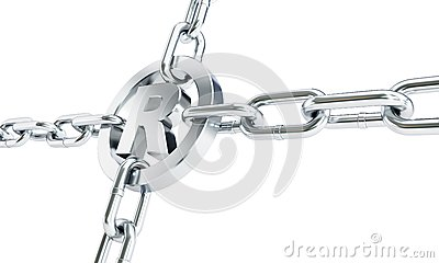 Chain links registered trademark sign 3d Illustrations