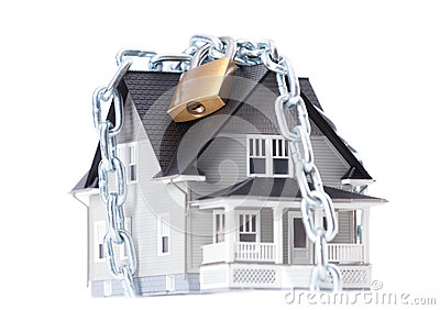 Chain with lock around the house