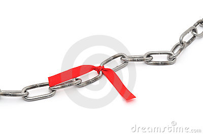 Chain and red ribbon
