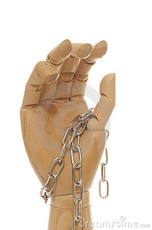 Chained wooden dummy hand