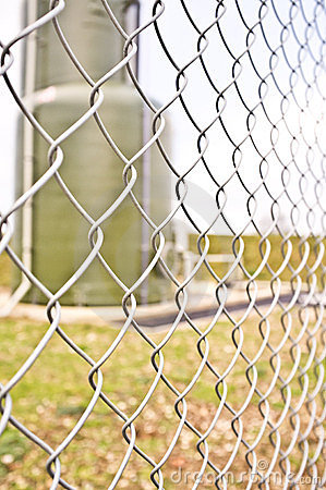 Chainlink fencing on an industrial site