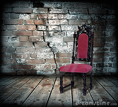 chair against a brick wall stock image image 14916441. Black Bedroom Furniture Sets. Home Design Ideas