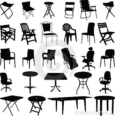 Free Chair And Table Silhouette Vector Stock Image - 10397571