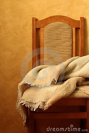 Chair with a blanket