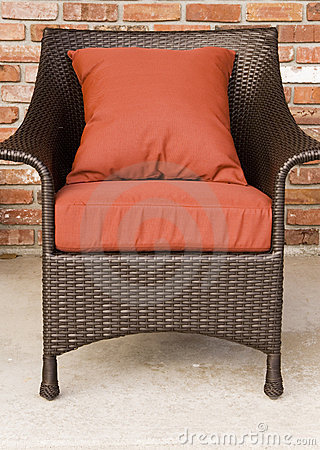 Chair with cushions outside