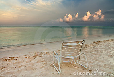Chair On Eagle Beach In Aruba Royalty Free Stock Photo - Image: 12850795